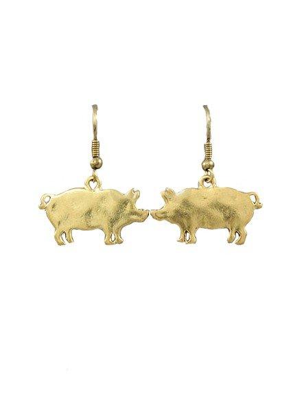 Piggy Earrings In Burnt Gold