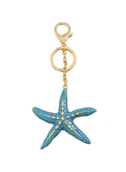 Enamel Blue Starfish Key Chain