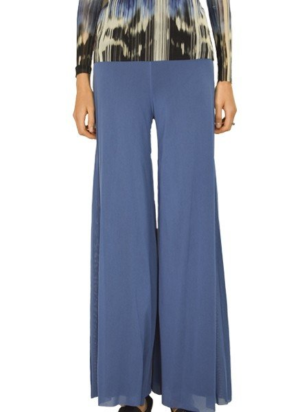 Petit Pois' Lined Palazzo Pants In Denim Blue