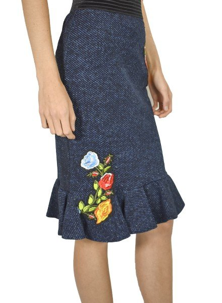Petit Pois' Ruffled Bottom Skirt In Dark Denim