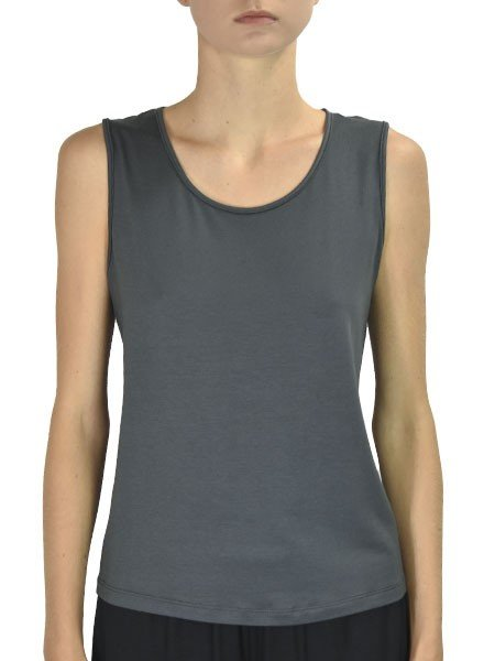Comfy U.S.A. Comfy's Wide Strap Tank In Charcoal