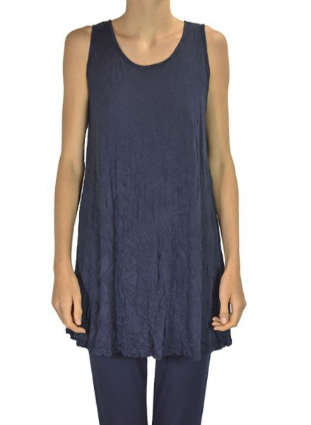 Comfy U.S.A. Comfy Crinkle Tunic Tank In Navy