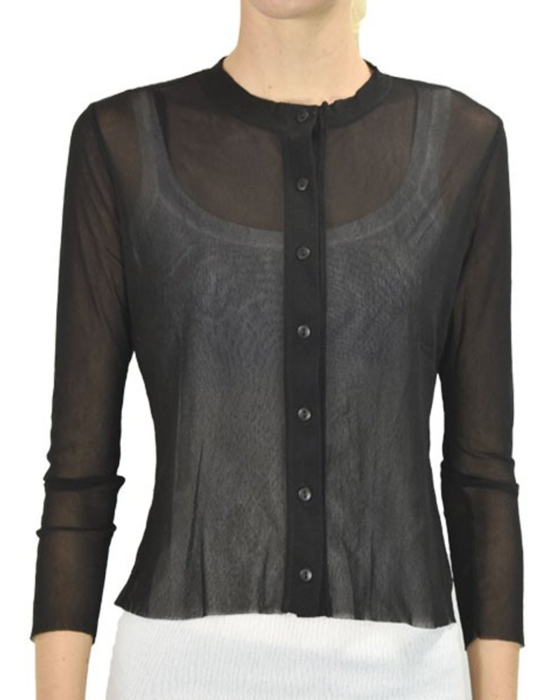 Petit Pois Button Front Cropped Cardi In Black