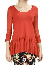 Petit Pois Shirred Botton Top In Red