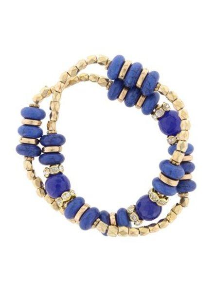 Double Wrap Stretch Navy & Gold Bracelet