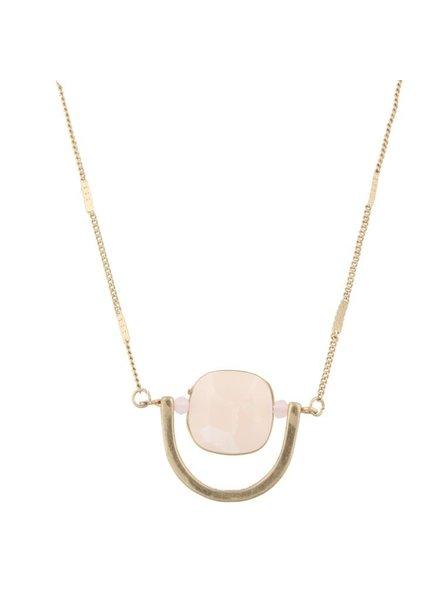 Half Orbit Necklace In Pale Pink