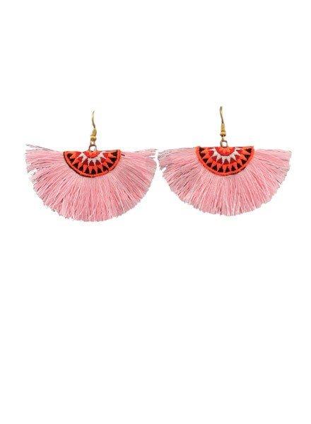 Thread Fan Earrings In Pink