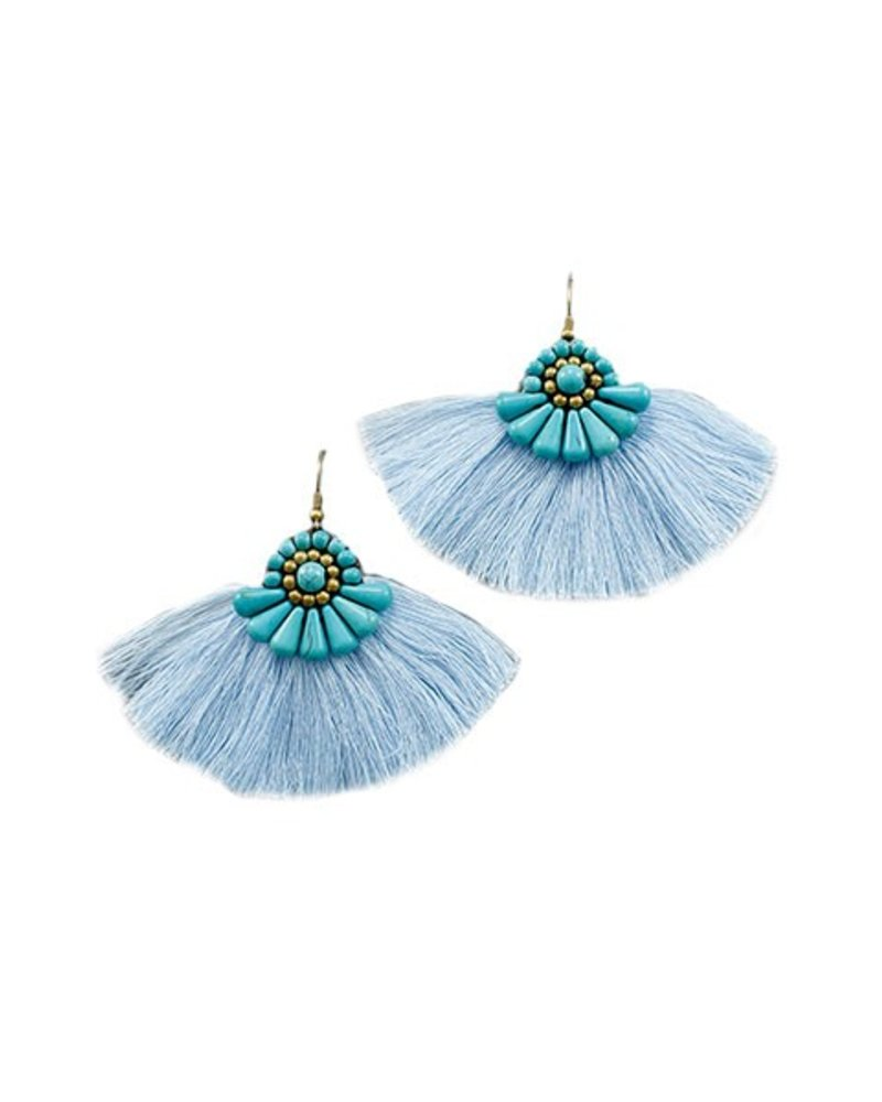 Turquoise Beads With Blue Tassel