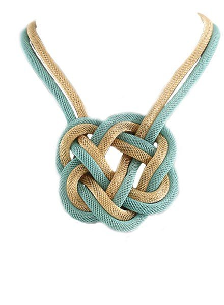 """18"""" Mesh Braided Necklace In Aqua & Gold"""