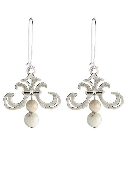 French Kande French Kande Silver Grand Fleur Earring With African Opal