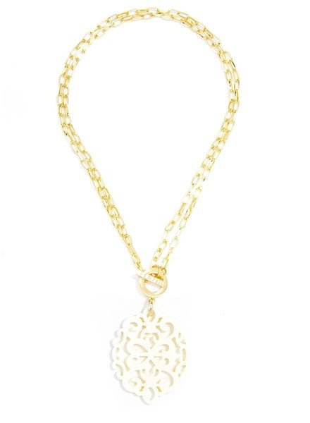 Damask Short/Long Necklace In Cream