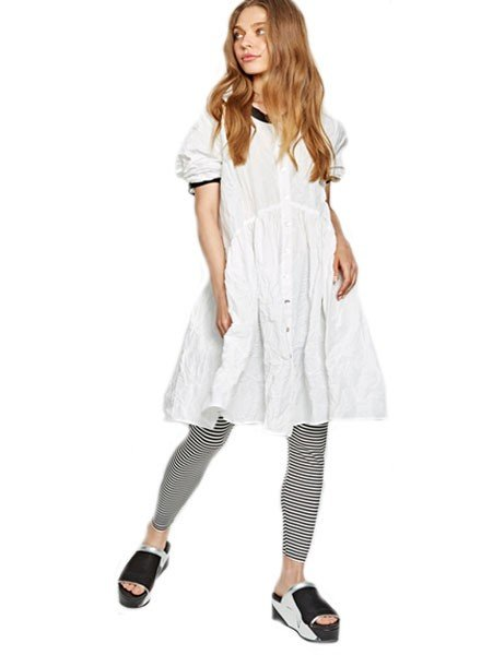 Alembika Alembika Crinkle Button Down Dress In White