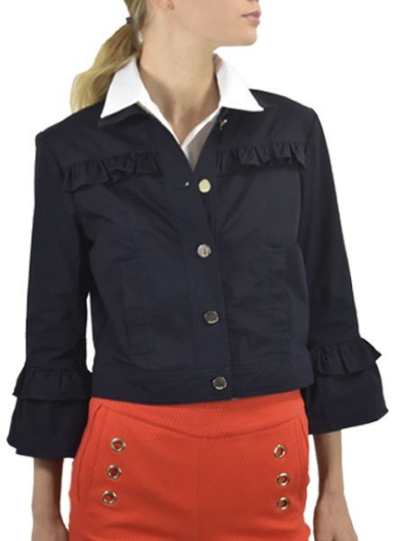 Renuar Renuar Crop Cotton Jacket In New Midnight