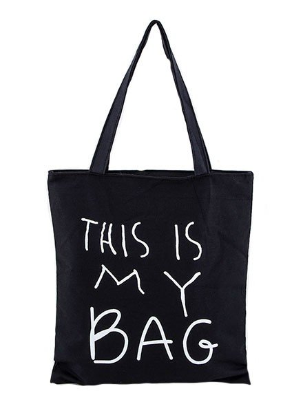 """This Is My Bag"" Canvas Tote In Black"