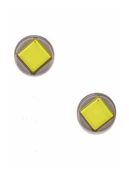 Geo Stud Earrings In Lime & Grey