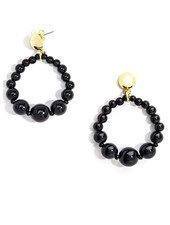 Glossy Pastel Beaded Drop Earrings In Black