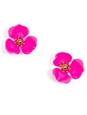 Blooming Lotus Stud Earrings In Hot Pink