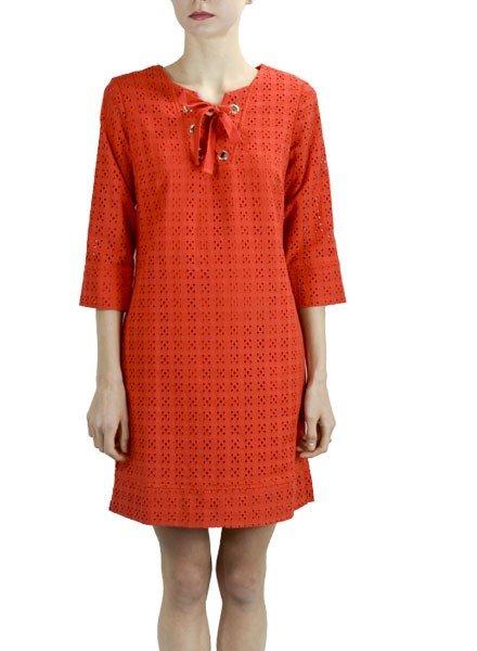 Renuar Renuar's Eyelet Dress In Tomato