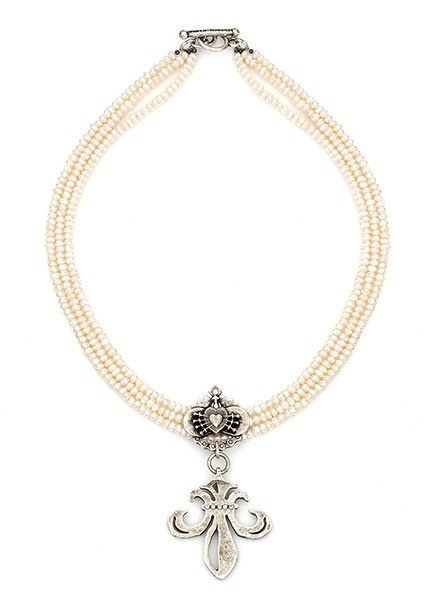 French Kande French Kande Triple Pearl With Heart Relier & Crystal Grande Fleur Medallion