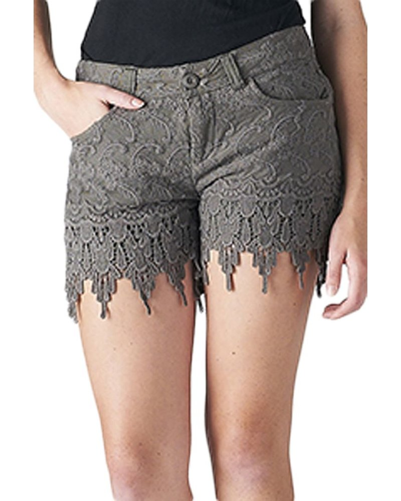 Crochet Lace Shorts In Olive Shady And Katie