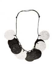 Circle Art Necklace In Silver & Black
