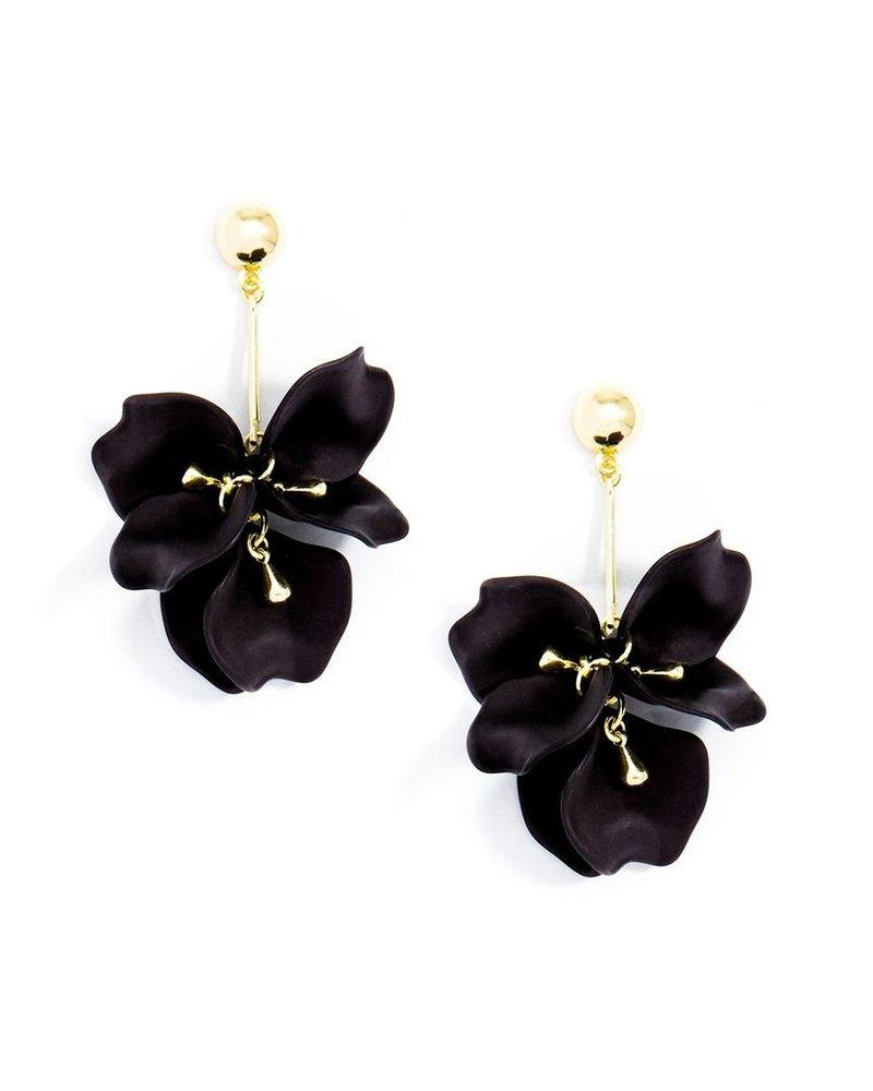 Pastel Petal Earrings In Black