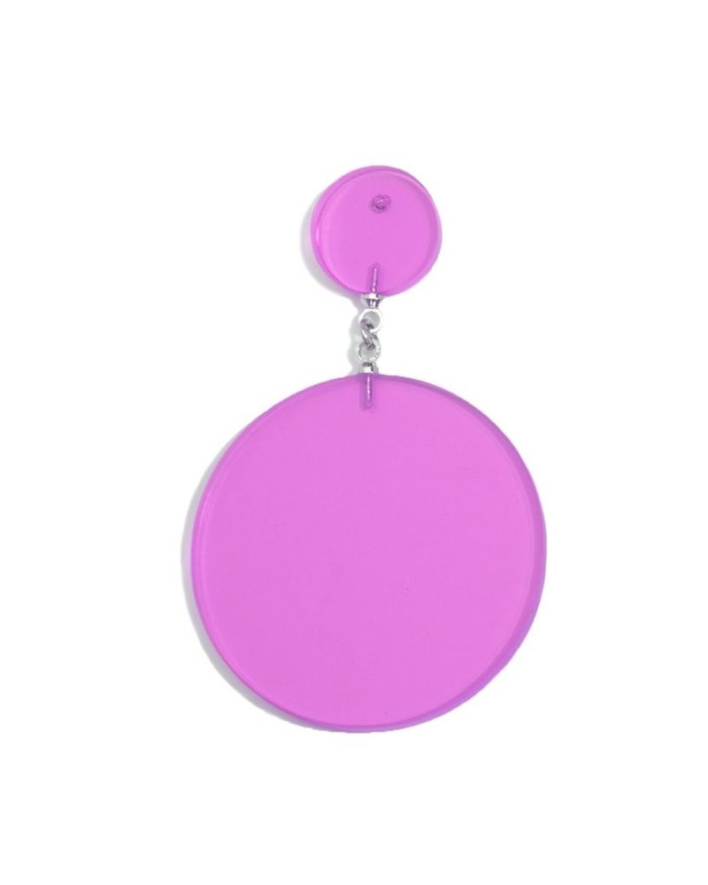 Lucite Solid Circle Drop Earrings In Lavender