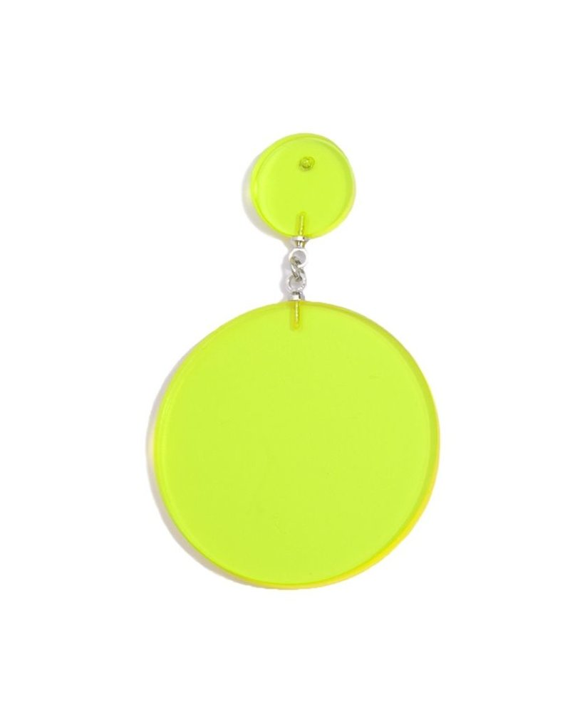Lucite Solid Circle Drop Earrings In Lime