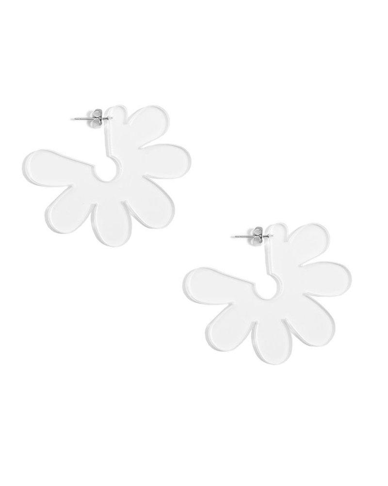 Flat Lucite Flower Earrings In Clear