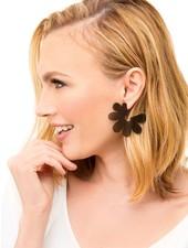 Flat Lucite Flower Earrings In Black