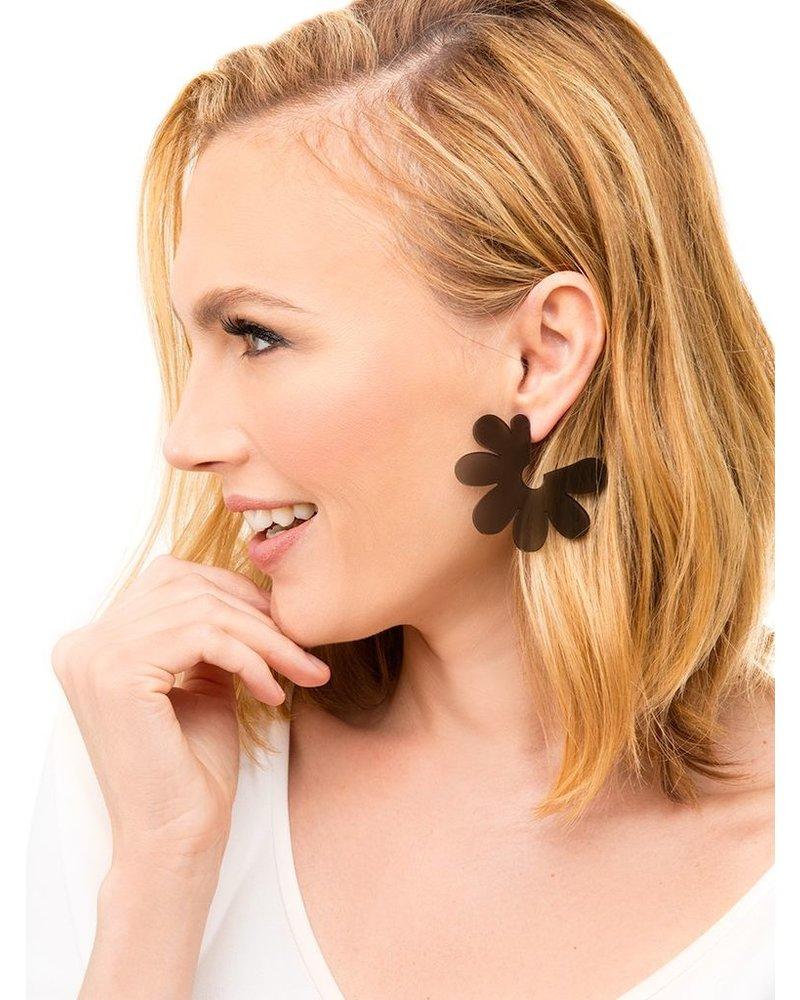 Flat Lucite Flower Earrings In Lime