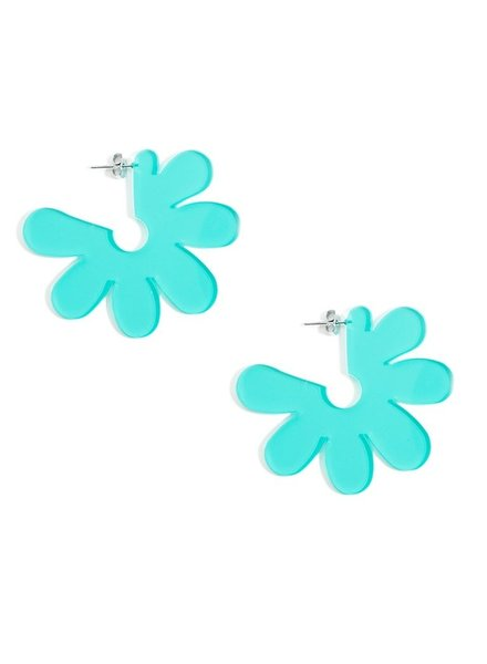 Flat Lucite Flower Earrings In Teal