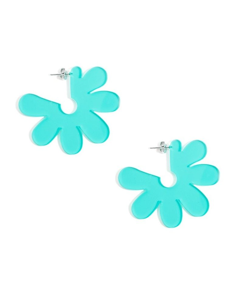 Flat Lucite Flower Earrings In Teal