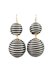 Thread Wrap Ball Earrings In Black & White