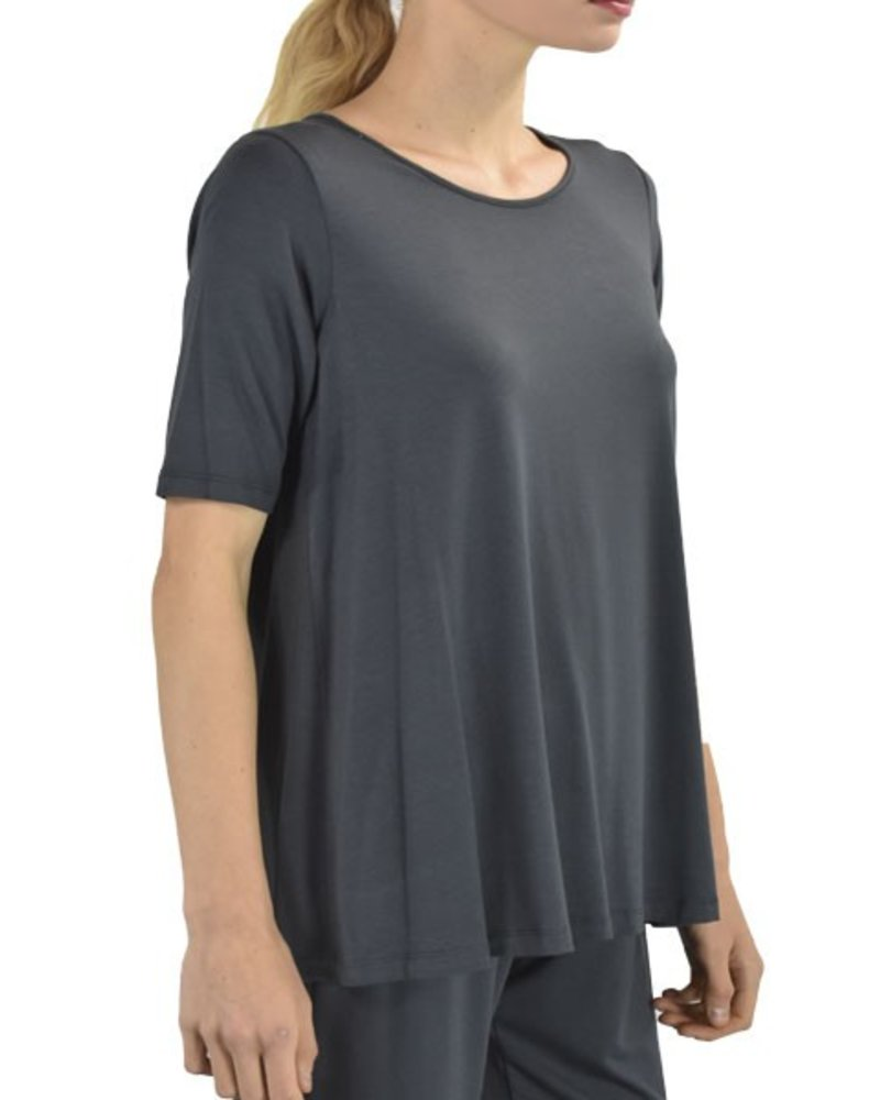Comfy Elbow Sleeve Tunic In Charcoal
