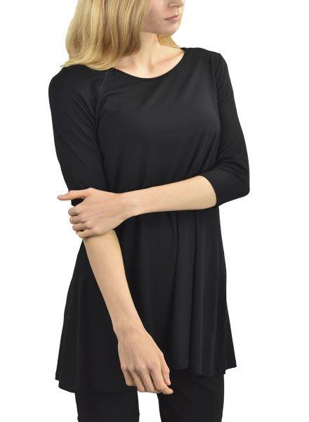Comfy U.S.A. Comfy 3/4 Sleeve Tunic Top In Black