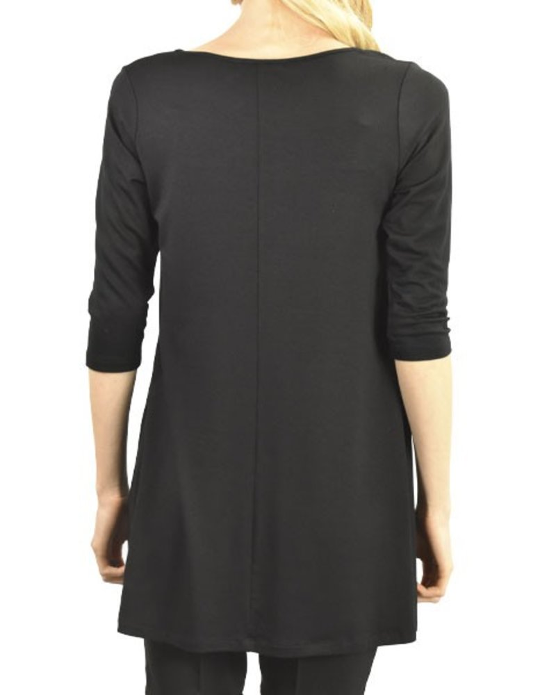 Comfy U.S.A. Comfy 3/4 Sleeve Tunic Top In Black