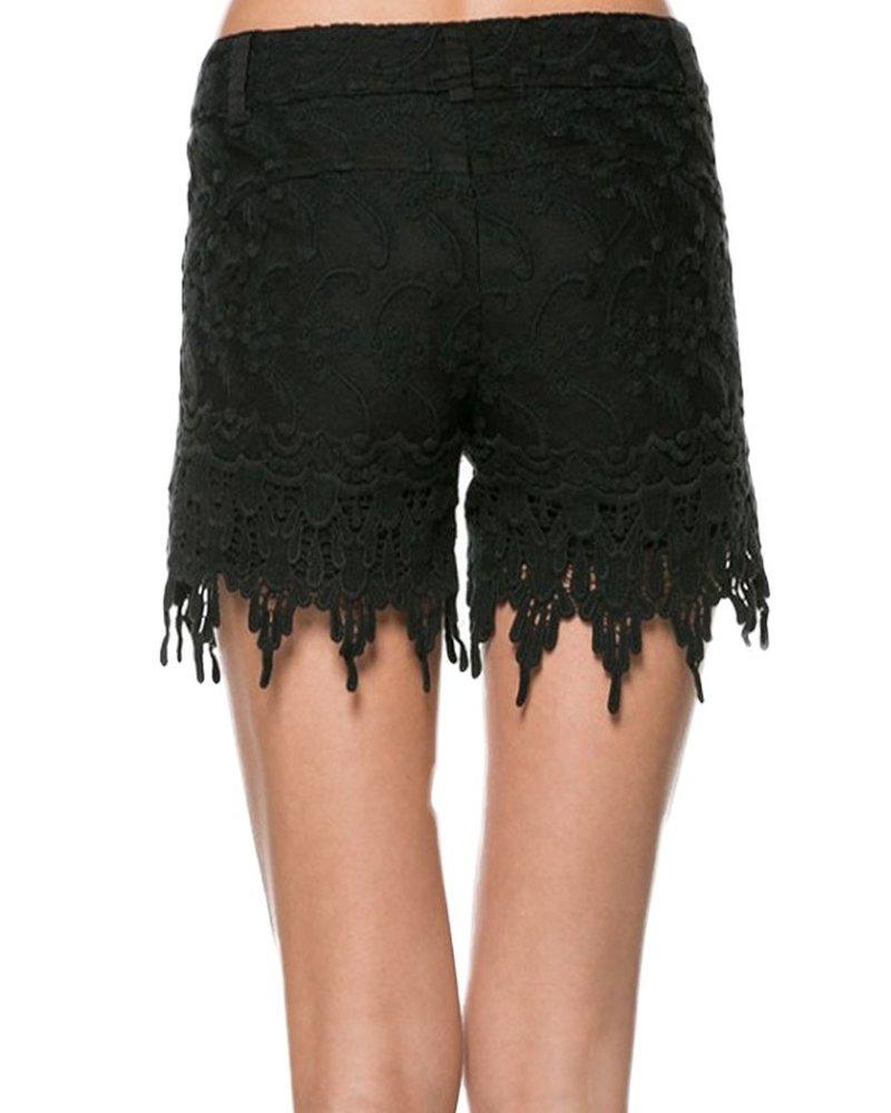Crochet Lace Shorts In Black