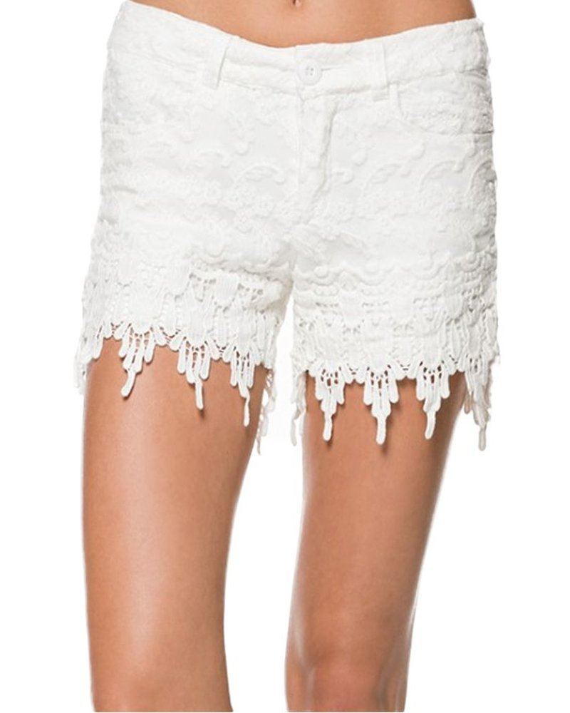 Crochet Lace Shorts In White Shady And Katie