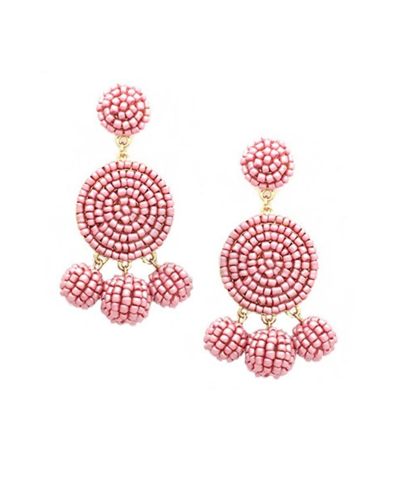 Seed Bead Ball Dangle Earrings In Dusty Pink