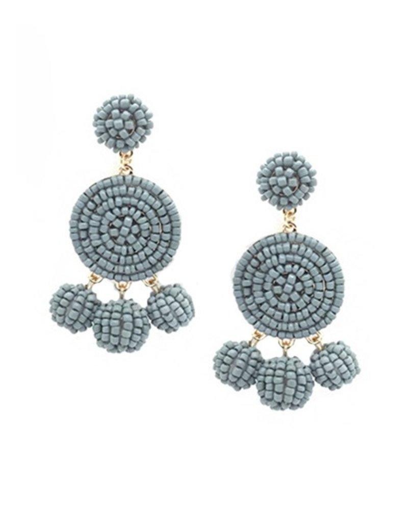 Seed Bead Ball Dangle Earrings In Grey