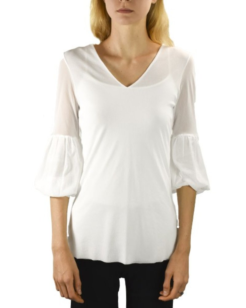 Petit Pois' 3/4 Puff Sleeve In White