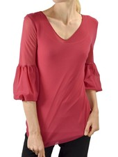 Petit Pois' 3/4 Puff Sleeve In Rasberry Pink