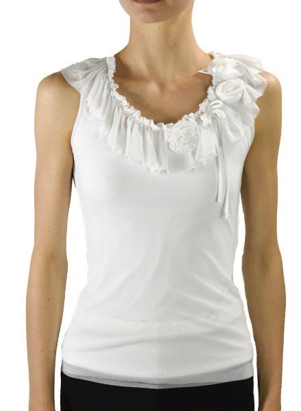 Petit Pois' Ruffled Romantic Top In White