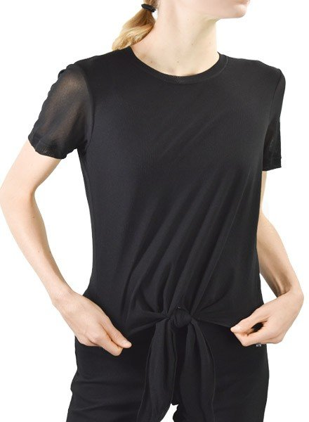 Petit Pois Tie Top T-Shirt In Black