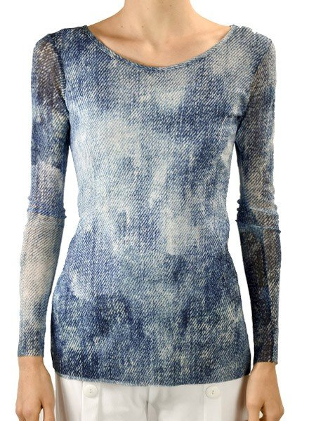 Petit Pois' Washout Denim Scoop Neck Top