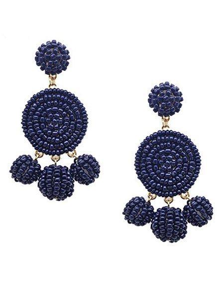 Seed Bead Ball Dangle Earrings In Navy