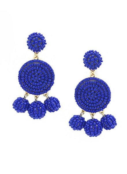 Seed Bead Ball Dangle Earrings In Royal Blue