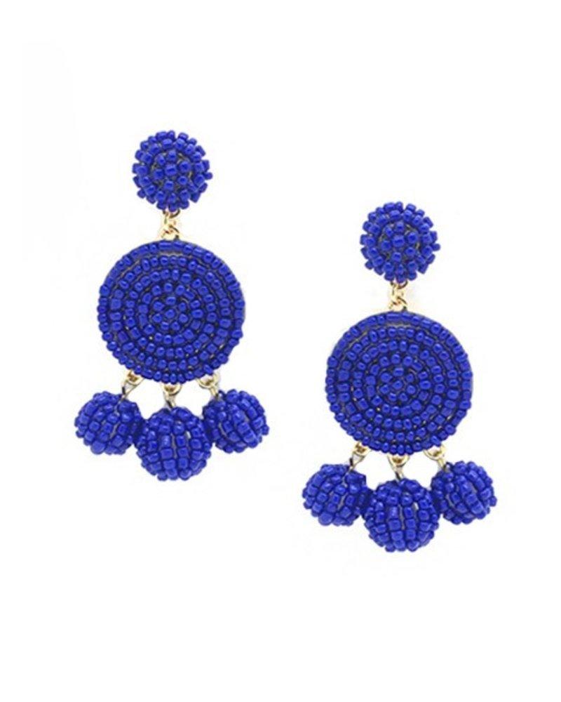 Seed Bead Ball Dangle Earrings In Royal Blue