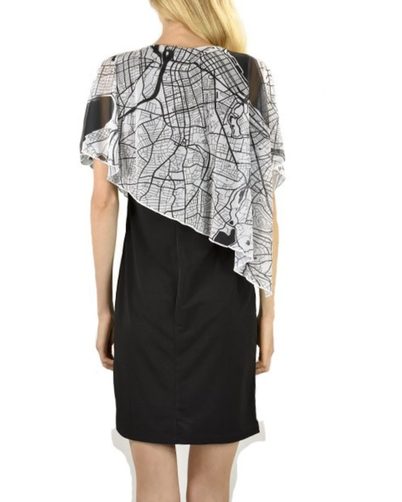 "LeGaleriste Le Galeriste Joni Cape Dress In ""Boston"""